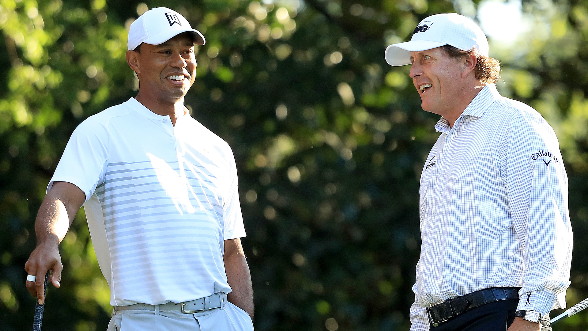 Tiger Woods and Phil Mickelson at the 2018 Masters.